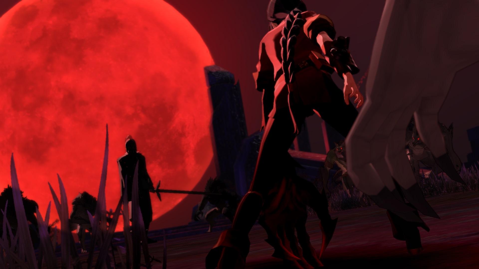 Sus siluetas están perfiladas por la luz de la Luna Escarlata. ¿Qué habrá pasado entre Velvet y Artorius hace tres años?